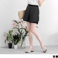 0718新品 側拉鍊異材質拼接中高腰打褶雪紡短褲‧2色