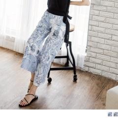 0811新品 腰圍鬆緊直條紋綴花朵印花高含棉寬褲.2色