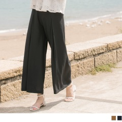 0719新品 質感純色後腰鬆緊打褶造型九分寬褲.2色