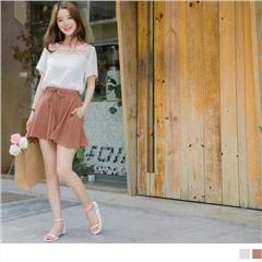 0817新品 質感純色抽腰綁帶造型傘襬雪紡短褲.2色