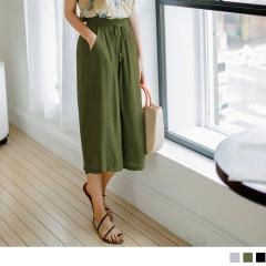 0810新品 質感純色抽腰綁帶設計細皺七分長寬褲.3色