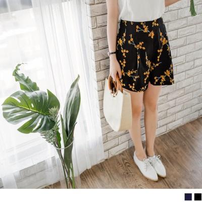 0728新品 浪漫花朵圖案打褶造型短褲.2色