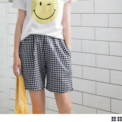 0724新品 配色格紋腰圍鬆緊造型棉麻五分短褲.2色