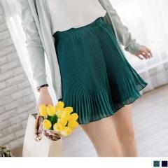 0817新品 腰圍鬆緊透光感純色雪紡百褶褲裙.2色