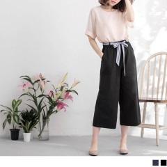 0717新品 棉感條紋綁帶造型休閒九分寬褲.2色
