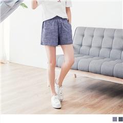 0817新品 高含棉量休閒打褶寬襬短褲.2色