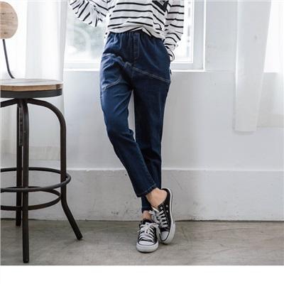 【新品免運】腰圍鬆緊不規則造型車縫線口袋錐形牛仔褲