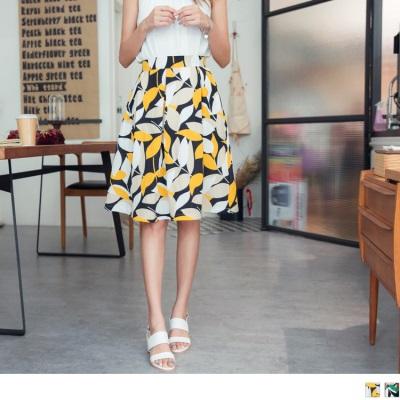 0724新品 滿版繽紛樹葉圖案後腰鬆緊打褶傘襬造型中長裙.2色
