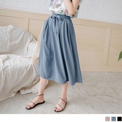 【LINE限定】鬆緊抽腰綁帶純色飄逸垂墜涼感中長裙.3色