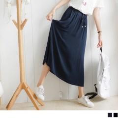 0727新品 質感純色抽腰綁帶造型長裙.2色
