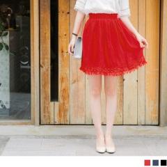 0817新品 腰圍鬆緊鏤空雕花小流蘇下襬純色短裙.3色