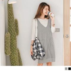台灣製造素面口袋式縮口下襬吊帶裙.2色