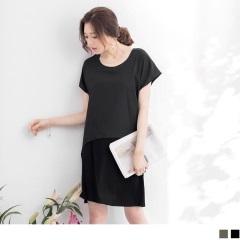 0718新品 假兩件拼接雪紡寬鬆洋裝‧2色