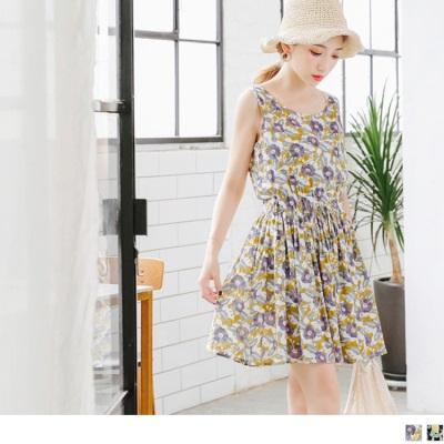 0724新品 繽紛花朵印花抽腰綁帶高含棉無袖洋裝.2色