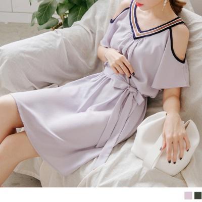 0724新品 拼色條紋點綴前後V領挖肩設計腰側綁帶純色洋裝.2色