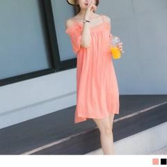 0811新品 鏤空刺繡一字領細肩帶純色細皺洋裝.2色