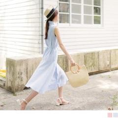 0811新品 附綁帶配色直條紋襯衫領排釦造型傘襬長洋裝.2色