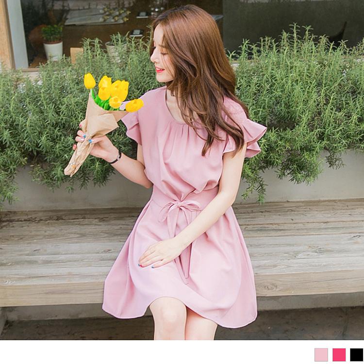 前襟打褶荷葉袖縮腰綁帶質感純色洋裝
