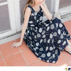 0726新品 滿版花朵圖案抽腰綁帶造型無袖高含棉長洋裝.2色