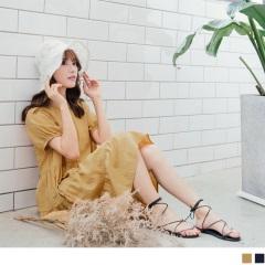 0810新品 純色甜美高含棉拼接下襬抓皺層次花苞袖洋裝.2色