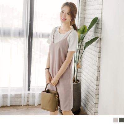 【LINE限定】坑條白內搭純色V領珍珠點綴細肩帶背心兩件式洋裝.2色