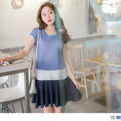 0818新品 簡約配色層次感拼接魚尾裙襬連袖洋裝.2色
