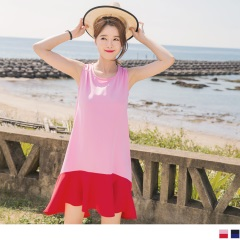 0803新品 質感光澤面料拼色設計魚尾弧襬無袖洋裝.2色