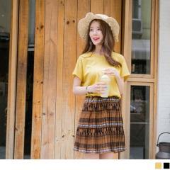 0817新品 純色高含棉拼接下襬圖騰印花百褶洋裝.2色