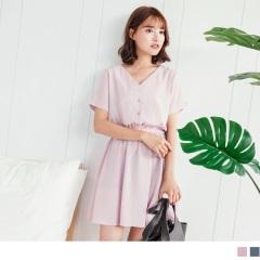 0816新品 氣質V領排釦縮腰設計純色洋裝.2色