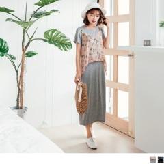 0803新品 質感純色素面X花朵圖案綴珍珠細肩帶假兩件長洋裝.2色