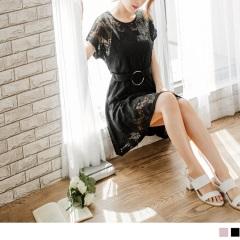 0817新品 純色鏤空提花面料綴環釦腰帶反折袖兩件式洋裝.2色