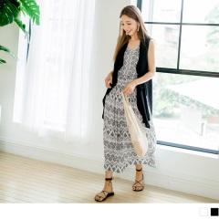 【周末限定♥現折100】民族風印花縮腰設計柔料背心長裙.2色