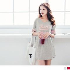 0727新品 台灣製造.英文拼字燙印綴橫條袖口造型高含棉洋裝.2色