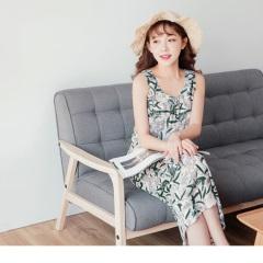 0727新品 粉嫩植物印花交叉鏤空美背縮腰設計無袖長洋裝