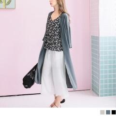 純色雪紡側襬開衩七分袖開襟長版外套/防曬罩衫.3色