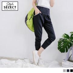 台灣製造~腰圍鬆緊純色棉質休閒哈倫褲.3色