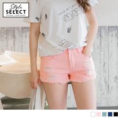 純色破損感綴星星圖案口袋造型褲管反摺短褲.5色