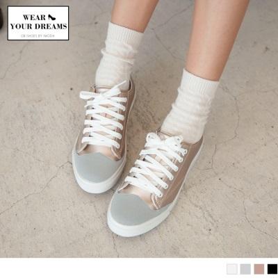 0714新品 台灣製造~異材質拼接仿皮革綁帶休閒鞋.4色