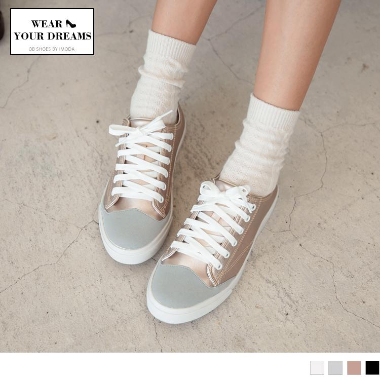 台湾制造~异材质拼接仿皮革绑带休闲鞋.4色