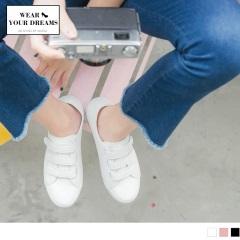 0714新品 台灣製造~純色仿皮革魔鬼氈休閒鞋.3色