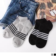 0724新品【特價款】簡約條紋毛巾布船型襪.2色(任3入198)