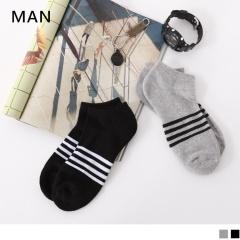 0724新品【特價款】簡約條紋毛巾布船型襪.男2色(任3入198)