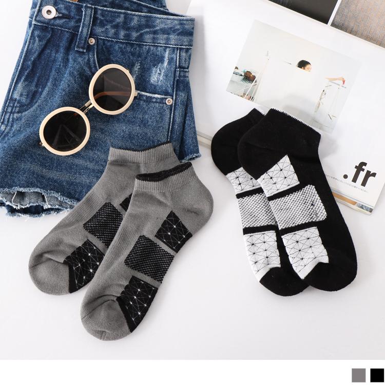 幾何圖樣拼接毛巾布船型襪.2色(3入198)
