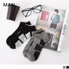 0724新品【特價款】幾何圖樣拼接毛巾布船型襪.男2色(任3入198)