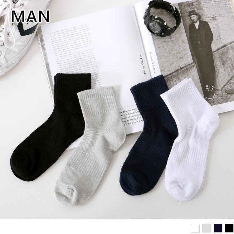 素面透氣足弓加強短筒襪.男4色