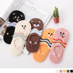 0724新品【特價款】韓國可愛動物立體腳印止滑隱形襪.5色(任3入198)