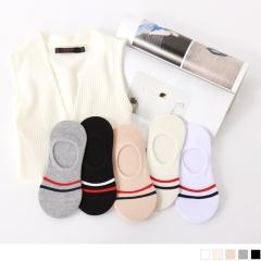 0724新品【特價款】韓國配色條紋圖案點綴止滑隱形襪.5色(任3入198)