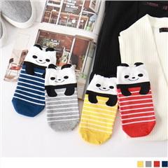0724新品【特價款】韓國條紋熊貓船型襪.4色(任3入198)