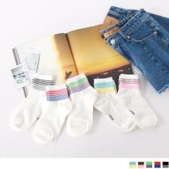 0724新品【特價款】韓國腳踝撞色條紋短筒襪.5色(任3入198)