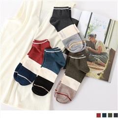 0724新品【特價款】韓國配色線條短筒襪.4色(任3入198)